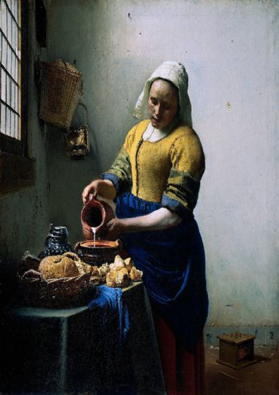 Vermeer, Johannes: The Milkmaid. Dutch Fine Art Print/Poster. Sizes: A4/A3/A2/A1 (001841)